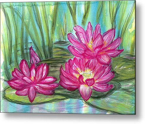 Pondscape Metal Print featuring the painting Summer Pond After A Rain by Laura Johnson