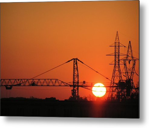 Sunset Metal Print featuring the photograph Sunset And Tower Crane by Richard Mitchell