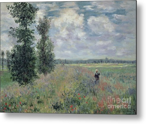The Metal Print featuring the painting The Poppy Field by Claude Monet