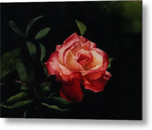Floral Metal Print featuring the painting The Rose by Patricia Halstead