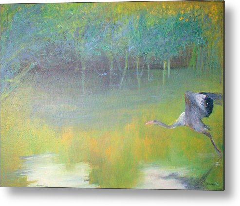 Landscape Metal Print featuring the painting Tranquil by Tinsu Kasai