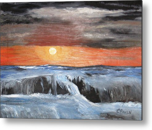 Landscape Metal Print featuring the painting Turmoil by L A Raven