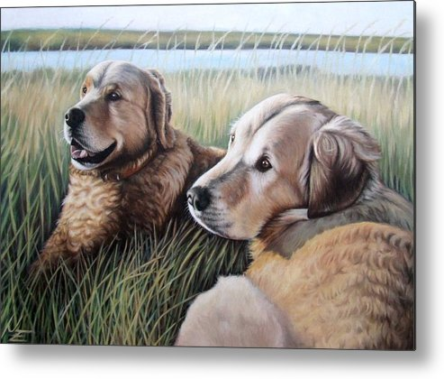 Dogs Metal Print featuring the painting Two Golden Retriever by Nicole Zeug