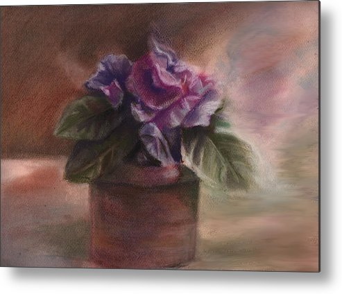Flowers Metal Print featuring the pastel Violets by Patricia Halstead