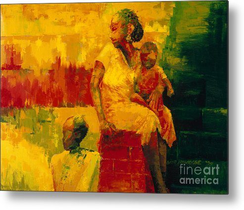 What Is It Ma? 1994 (oil On Board) By Bayo Iribhogbe (contemporary Artist) Metal Print featuring the painting What Is It Ma by Bayo Iribhogbe