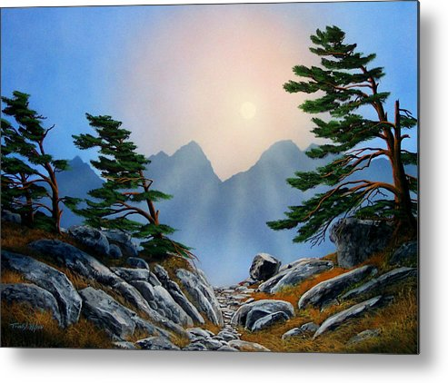 Windblown Pines Metal Print featuring the painting Windblown Pines by Frank Wilson