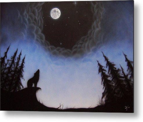 Wolf Metal Print featuring the painting Wolf Moon by Devaron Jeffery