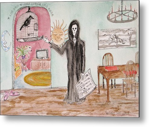 Bird Birdcage Darkestartist Death Home Humor Ink Watercolor Watercolour Darkest Artist Metal Print featuring the painting Yesterdays News by Darkest Artist