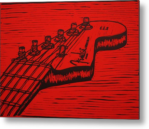 Fender Metal Print featuring the drawing Fender Strat by William Cauthern