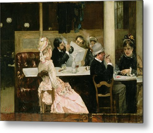 Cafe Metal Print featuring the painting Cafe Scene In Paris by Henri Gervex