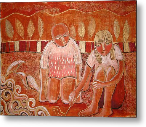 Kids Metal Print featuring the painting At A Shore by Aliza Souleyeva-Alexander