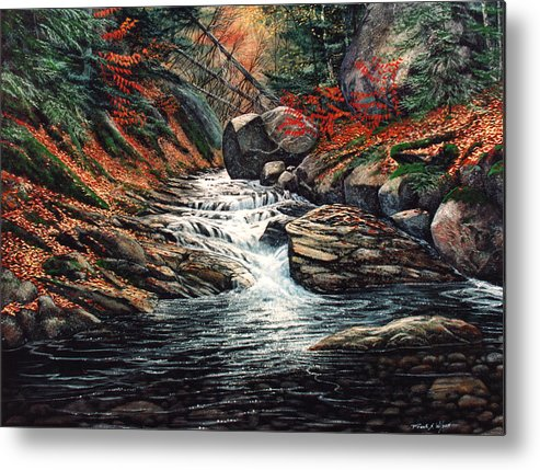 Landscape Metal Print featuring the painting Autumn Brook by Frank Wilson