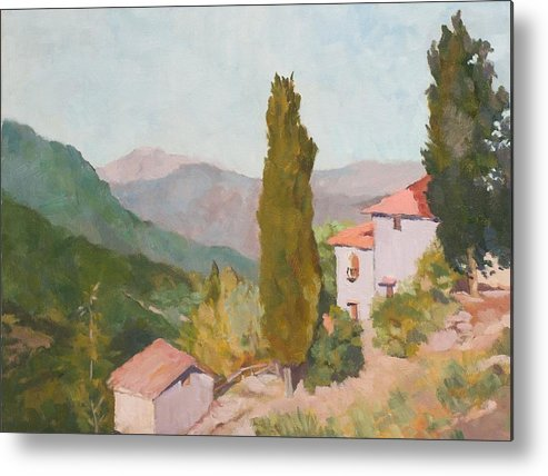 Landscape Metal Print featuring the painting Italian Villa by Fay Terry