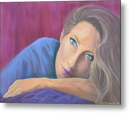Figure Metal Print featuring the painting Looking At You by Sheryl Sutherland