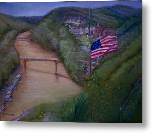 Flag Metal Print featuring the painting Muddy River by Karen Thompson
