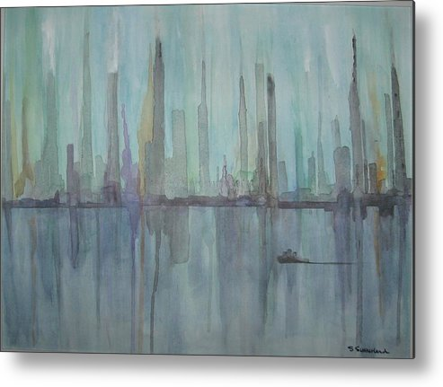 Blue City Skyline Metal Print featuring the painting Skyline by Sheryl Sutherland