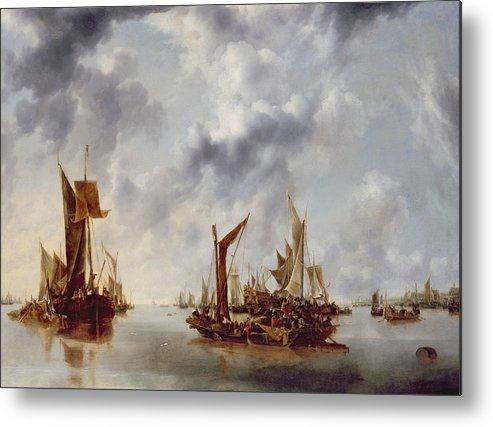 Calm Metal Print featuring the painting A Calm by Jan van de Capelle