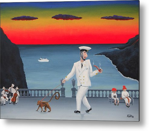 Landscape Captain Monkey Orchestra Jazz Childhood South Tropical Island Cruise Ship Wacation Resort Metal Print featuring the painting A Captain And His Monkey by Poul Costinsky