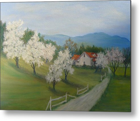 Landscape; Spring; Mountains; Country Road; House Metal Print featuring the painting A Day In The Country by Ben Kiger