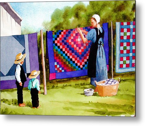 Amish Metal Print featuring the painting Airing The Quilts by Faye Ziegler
