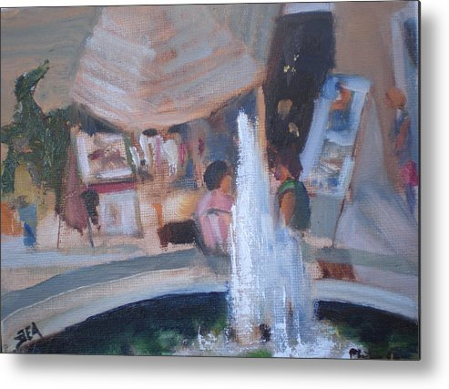 Carlsbad Village Fountain Metal Print featuring the painting Art Faire by Bryan Alexander