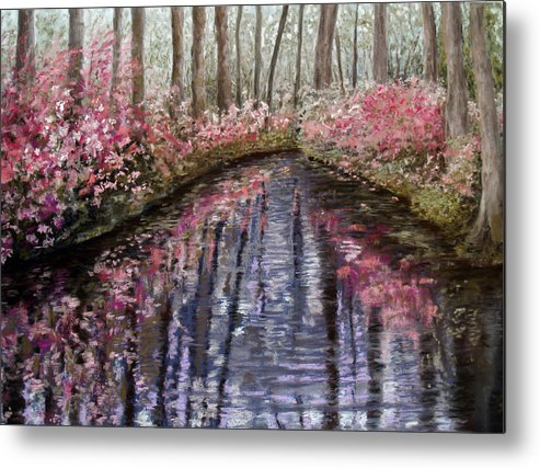 Landscape Metal Print featuring the painting Azalea River by Susan Jenkins