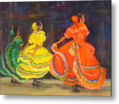 Figure Metal Print featuring the painting Ballet Folklorico by Bunny Oliver