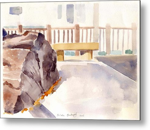 Nature Metal Print featuring the painting Big Rock 1 by Linda Berkowitz