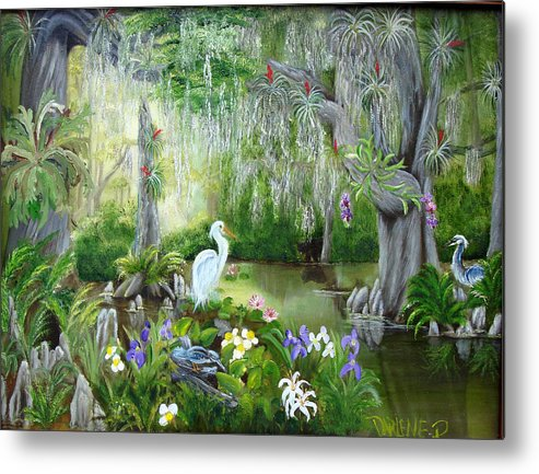 Florida Metal Print featuring the painting Blooming Swamp by Darlene Green