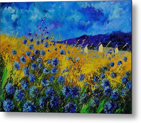 Poppies Metal Print featuring the painting Blue Cornflowers by Pol Ledent
