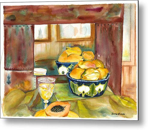 Stillife Metal Print featuring the painting Bowl Of Papayas by Ileana Carreno