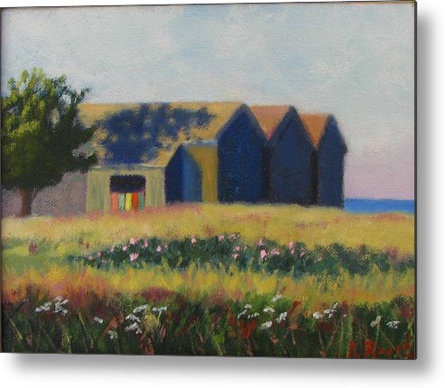 Cabanas Metal Print featuring the painting Cabanas At Jetty Beach by Laura Roberts