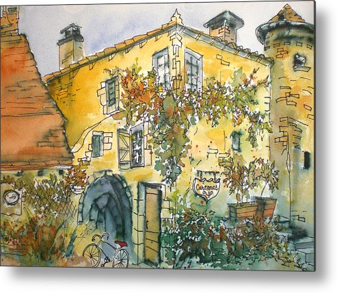 Watercolor Metal Print featuring the painting Carennac by Jeanne Salucci