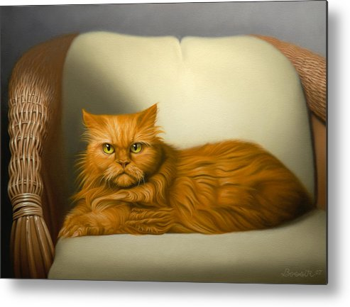 Cats Metal Print featuring the painting Cat Portrait Of Tosca by Eric Bossik