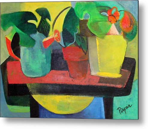 Potting Stand Metal Print featuring the painting Cezanne Potting Stand by Betty Pieper