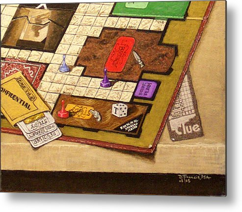 Still Life Metal Print featuring the painting Clue The Case Is Solved by David Francis