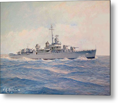 Ships Metal Print featuring the painting Destroyer Halsey Powell by William H RaVell III