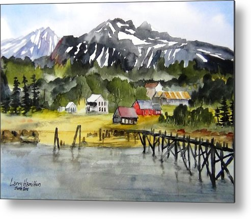 Watercolor Metal Print featuring the painting Docked At Haines Alaska by Larry Hamilton