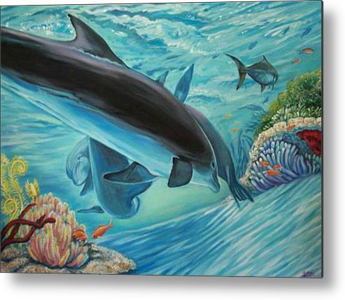 Underwater Scene Metal Print featuring the painting Dolphins At Play by Diann Baggett