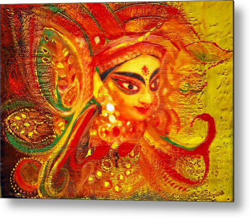 Abstract Metal Print featuring the painting Durga by Joya Paul