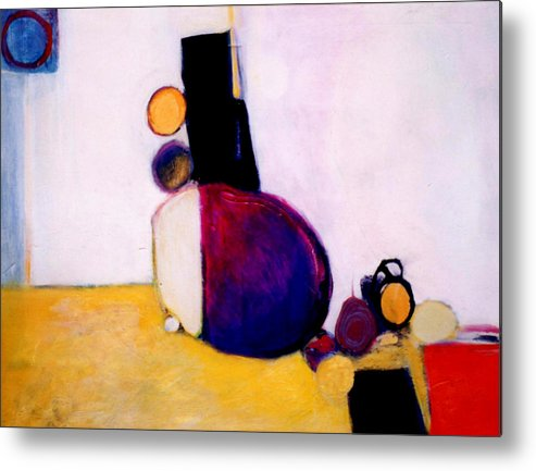 Abstract Metal Print featuring the painting Early Blob Having A Ball by Marlene Burns