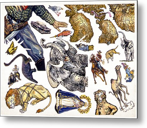 Karl Metal Print featuring the painting Figurative Sticker Sheet by Karl Frey