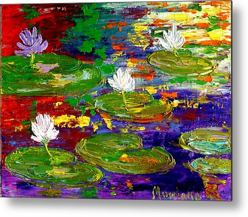 Lily Metal Print featuring the painting Golden Lights On Lily Pond by Inna Montano