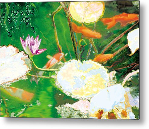 Koi Metal Print featuring the photograph Hide And Seek Kio In The Green Pond by Judy Loper