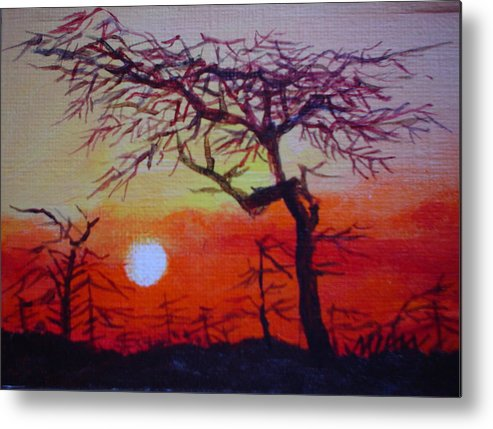 Night Metal Print featuring the painting Into The Night by Min Wang