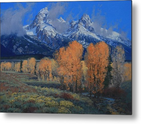 Landscape Metal Print featuring the painting 'last Leaves' by Lanny Grant