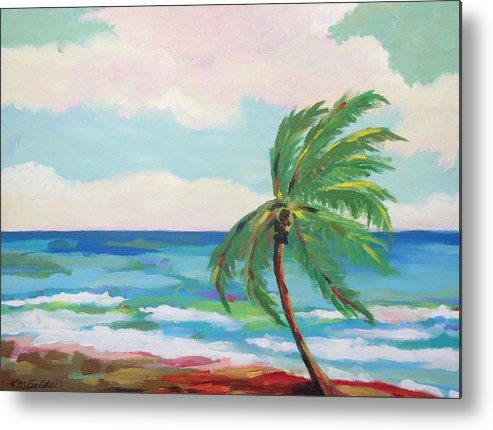 Palm Tree Metal Print featuring the painting Lone Palm On The Beach by Karen Fields
