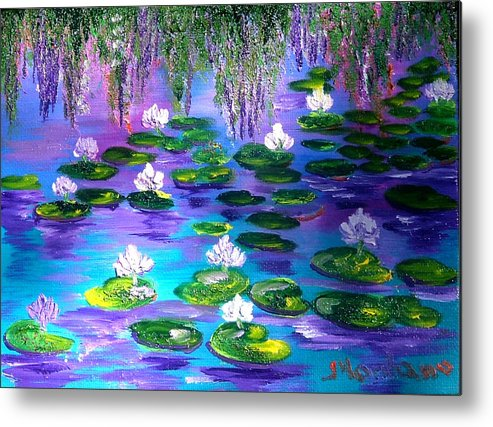 Pond Metal Print featuring the painting Mistery Lily Pond by Inna Montano