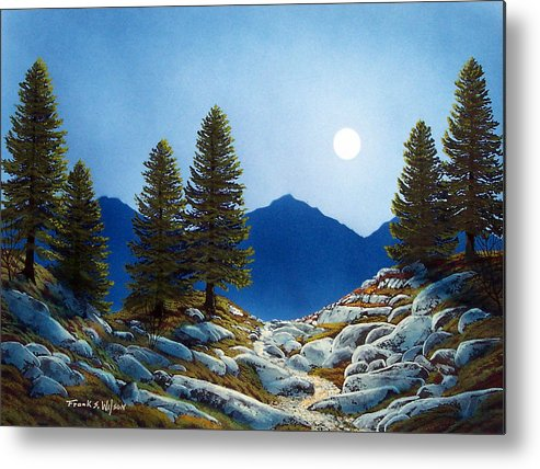 Landscape Metal Print featuring the painting Moonlit Trail by Frank Wilson