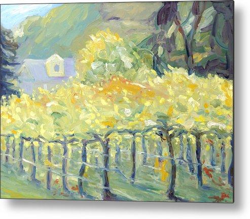 Napa Valley Vineyard Metal Print featuring the painting Morning In Napa Valley by Barbara Anna Knauf